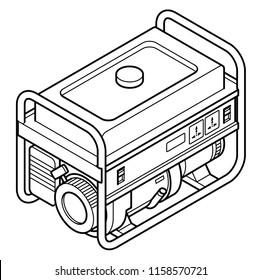 A portable petrol/gasoline generator with international power sockets
