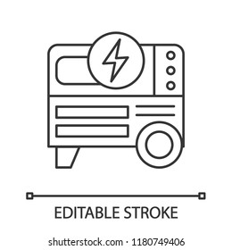 Portable power generator linear icon. Thin line illustration. Home electric generator. Contour symbol. Vector isolated outline drawing. Editable stroke