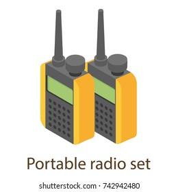 Portable radio icon. Isometric illustration of portable radio vector icon for web