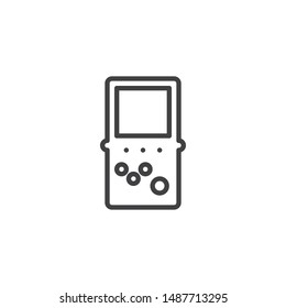 Portable retro game console line icon. linear style sign for mobile concept and web design. Video game console outline vector icon. Symbol, logo illustration. Vector graphics