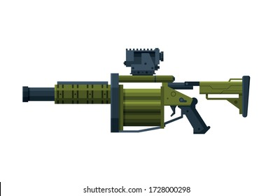 Portable Rocket Launcher, Bazooka Combat Military Army Weapon Object Flat Style Vector Illustration