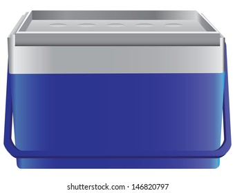 Portable sealed storage box cold drinks and food. Vector illustration.