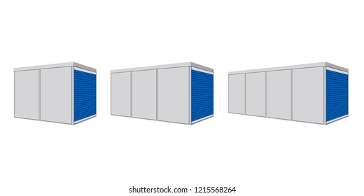 Portable storage container icon set. Clipart image isolated on white background
