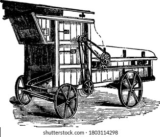 Portable Threshing-Machine, a farm equipment, is mainly used to thresh grain and separate seeds from stalks and husks. It was first invented by, Andrew Meikle, vintage line drawing or engraving.
