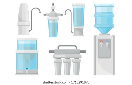 Portable Water Filters or Water Purifiers for Making Liquid Accessible for Drinking Vector Set