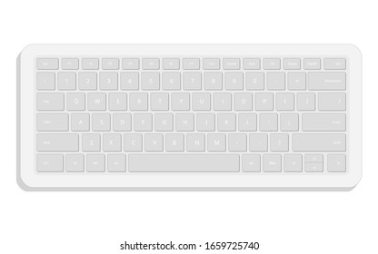 portable white separate isolated keyboard on a white background