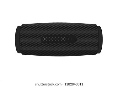 Portable wireless speaker isolated on white background. Connect with smartphone to play the music. Vector icon