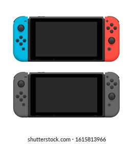 Portable wireless video game console pair icons blue red and grey realistic detailed 3d isolated vector eps 10