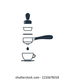 Portafilter and tamper isolated icon on white background, 400 coffee set, logo and sign