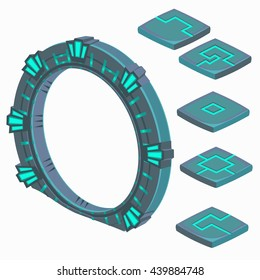 Portal to another dimension and plate with runes isolated on a white background. Vector illustration.