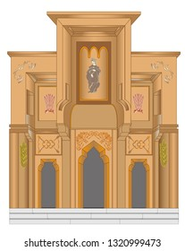 The portal of a Christian temple of  history with three entrances, the main and the secondary. The portal is decorated with ornaments, shaping and division. A leading Christian person is led by a pray
