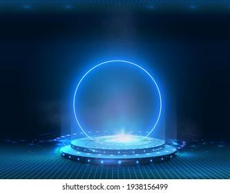 Portal and hologram futuristic Neon color circle elements. Standard podium or studio futuristic pedestal round platform showroom. Magic circle teleport stand. Cyberpunk style Technology demonstration