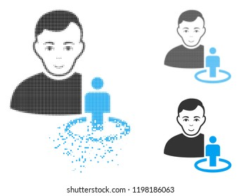 Portal moderator icon with face in dissolving, dotted halftone and undamaged entire versions. Pieces are combined into vector disappearing portal moderator icon.