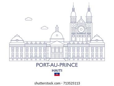 Port-Au-Prince Linear City Skyline, Haiti