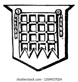 Portcullis used to defend the entrance to a castle, vintage line drawing or engraving illustration.