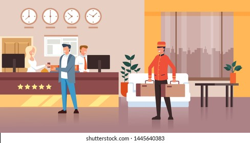Porter man character carry guest bags. Hotel reception concept. Vector flat graphic design isolated illustration icon