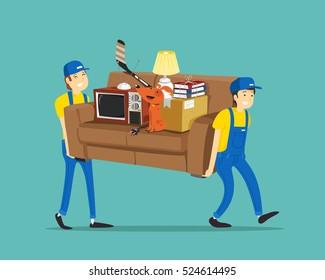 porters carry sofa. Vector illustration.