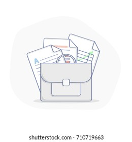 Portfolio, Briefcase with Office Documents, pile of various documents sheet illustration, vector concept of office contracts, agreements, reports. Bag of businessman with docs and forms