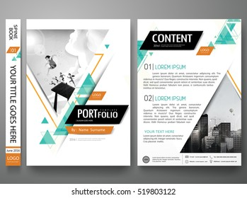 Portfolio design template vector. Minimal brochure report business flyers magazine poster. Abstract green triangle cover book presentation. City concept on A4 size layout.