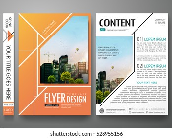 Portfolio design template vector. Minimal brochure report business flyers magazine. Abstract orange square cover book poster presentation. City concept in A4 size layout.