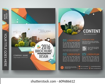 Portfolio design template vector. Minimal brochure report business flyers magazine poster. Abstract green and orange polygons on cover book presentation. City concept on A4 size layout.