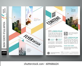 Portfolio design template vector. Minimal brochure report business flyers magazine poster. Abstract green and orange square on cover book presentation. City concept on A4 size layout.