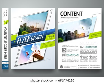 Portfolio design template vector. Minimal brochure report business flyers magazine poster. Abstract green and blue square on cover book presentation. City concept in A4 size layout.