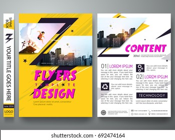 Portfolio design template vector. Minimal brochure report business flyers teen magazine poster. Abstract graphic yellow thunder shape on cover book presentation. City concept on A4 size layout.