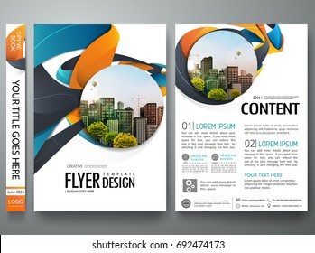 Portfolio design template vector. Minimal brochure report business flyers magazine poster. Abstract graphic blue and orange shape on cover book presentation. City concept on A4 size layout.