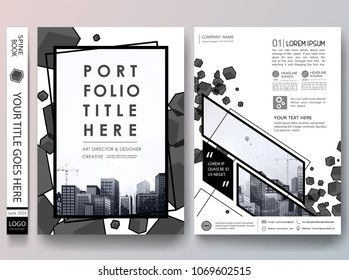 Portfolio design template vector.Minimal brochure report business flyers magazine poster.Abstract black box square on cover book presentation.City concept on A4 size layout.