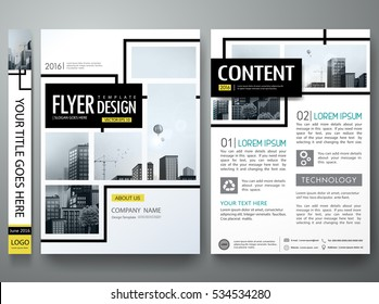 Portfolio design template vector.Minimal brochure report business flyers magazine poster.Abstract black and yellow square cover book presentation.City concept in A4 size layout.