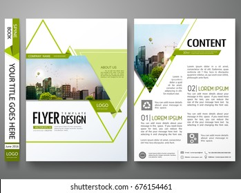 Portfolio design vector. Abstract green triangle on cover book presentation. Minimal brochure report business flyers magazine poster template.