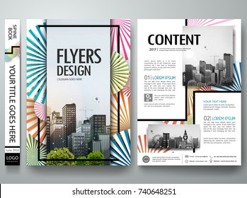 Portfolio design vector. Minimal brochure report business flyers magazine poster template. Abstract colorful circle pattern on cover book presentation.