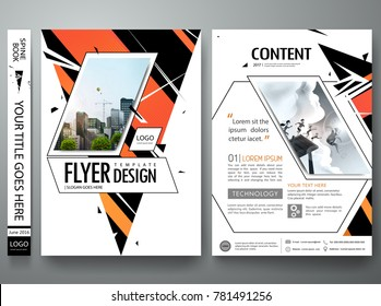 Portfolio design vector. Minimal brochure report business flyers magazine poster template. Abstract red orange and green triangle and hexagon on cover book presentation.