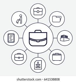 Portfolio icons set. set of 9 portfolio outline icons such as man with luggage, case, documents box, file, document