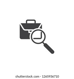 Portfolio search vector icon. filled flat sign for mobile concept and web design. Magnifying glass and briefcase simple solid icon. Symbol, logo illustration. Pixel perfect vector graphics