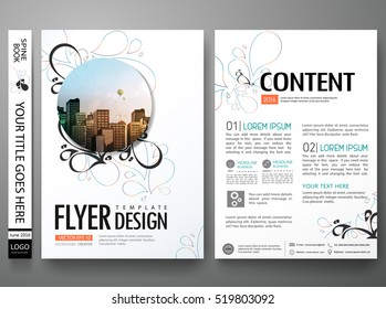 Portfolio template vector. Minimal brochure flower design report business flyers magazine poster. Abstract leaf cover book vintage presentation. City concept in A4 layout.
