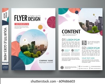 Portfolio template vector. Minimal flower brochure design report business flyers magazine poster. Abstract cover book  presentation. City on A4 layout.