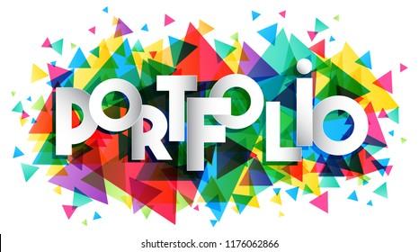 portfolio creative word banner vector illustration stock vector