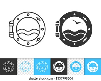 Porthole black linear and silhouette icons. Thin line sign of ship window. Nautical outline pictogram isolated on white, color, transparent background. Vector Icon shape. Porthole simple symbol