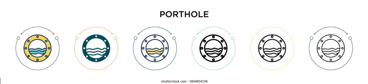 Porthole icon in filled, thin line, outline and stroke style. Vector illustration of two colored and black porthole vector icons designs can be used for mobile, ui, web