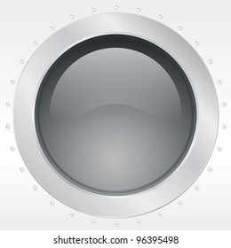 Porthole of a plane or ship, external view - vector illustration Eps10.