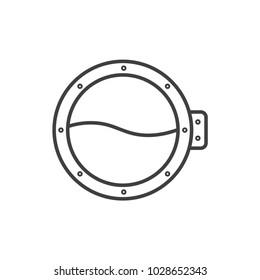 Porthole, ship window line icon.