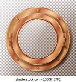 Porthole Vector. Round Brass, Bronze, Copper Window With Rivets. Bathyscaphe Ship Metal Frame Design Element. For Aircraft, Submarines. Isolated On Transparent Background Illustration