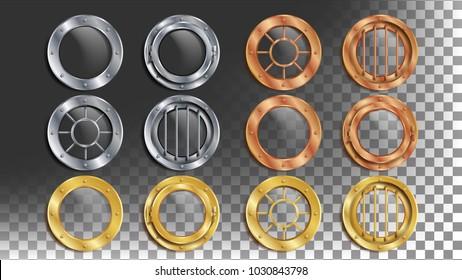 Portholes Set Vector. Round Metal Window With Rivets. Bathyscaphe Ship Frame Design Element, Rocket, Battleship. Aircraft, Submarines. Isolated On Transparent Background Realistic Illustration
