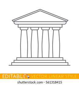 Portico an ancient temple with columns. Four pillars. Editable line icon. Stock vector illustration.
