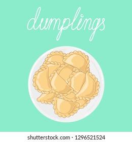 Portion of dumplings (pierogi, varenyky, pelmeni, ravioli) on white plate. Plate of dumplings isolated on background. Polish cuisine. Eastern european cuisine. Vector hand drawn illustration.