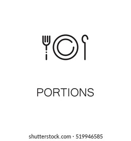 Portion flat icon. Single high quality outline symbol of plate for web design or mobile app. Thin line signs of portions for design logo, visit card, etc. Outline pictogram of plate