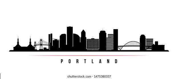Portland City skyline horizontal banner. Black and white silhouette of Portland City, Oregon. Vector template for your design.