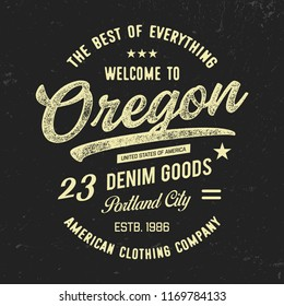 Portland City typography. Oregon State.Vintage vector t-shirt and apparel design,  print, logo, poster. Vector